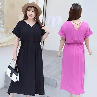 ✿plump girl 氣質✿中大尺碼女裝孕婦裝露背V領款簡約連衣裙YQ213