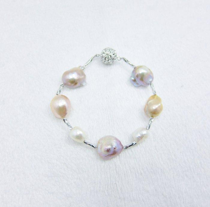 天然極光變形珍珠手鍊【元圓珠寶】(已售出,接受客訂)