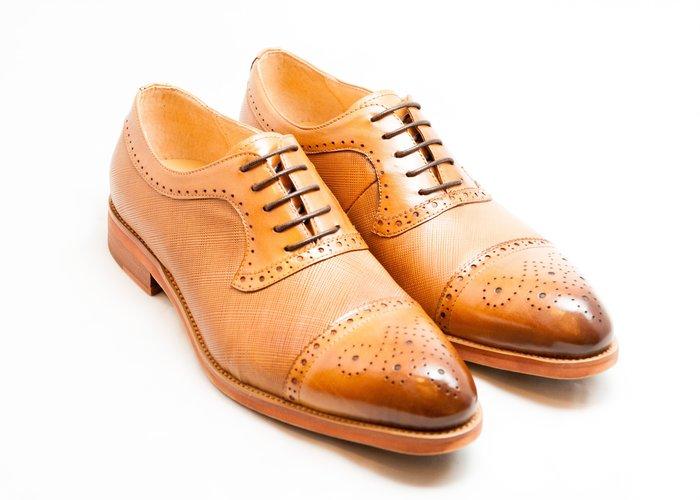 雕花拼接牛津鞋:手工上色小牛皮真皮木跟皮鞋男鞋-焦糖色-免運費-[LMdH直營線上商店]E1A25-89