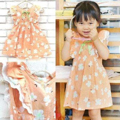 【班比納精品童裝】小花布蕾絲袖後綁帶背心洋裝(後拉鍊)-橘【BO16062804】