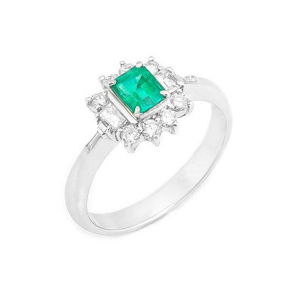 【JHT 金宏總珠寶/GIA鑽石專賣】0.38ct天然祖母綠鑽戒/材質:PT900(E00010)