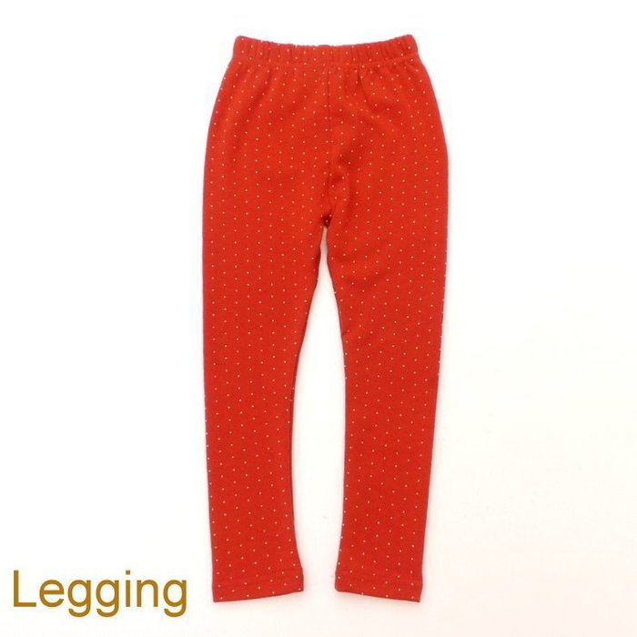 【班比納精品童裝】彈力內磨毛點點內搭褲-橘