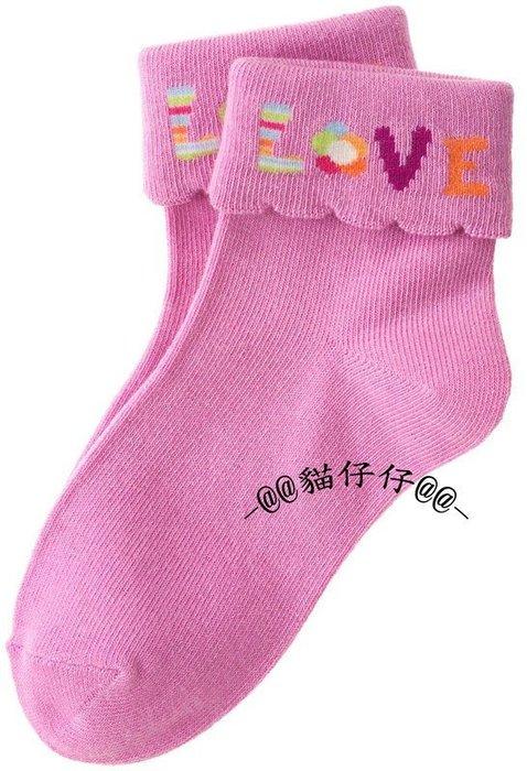 貓仔仔美國 ~ gymboree Love英文字樣款荷葉邊反折短襪~3~8  up~免