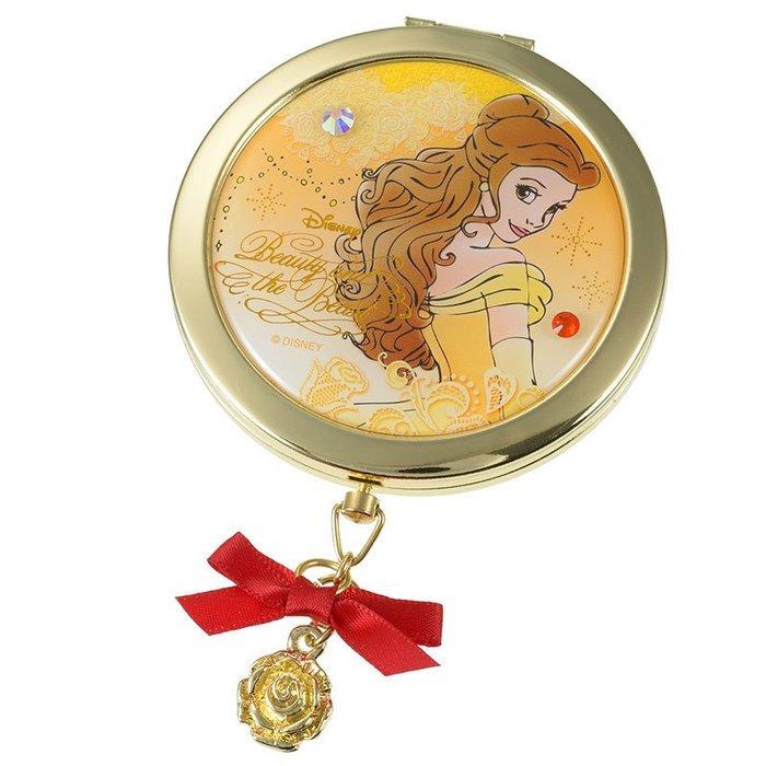 日本 迪士尼 美女與野獸 鏡子 玫瑰 disney  貝兒 隨身鏡