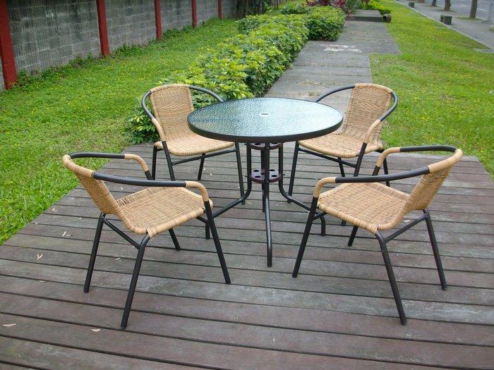 兄弟牌庭園休閒傢俱]80cm黑色庭院圓桌+4 張PE藤椅(黑色/綠色可選)~/組,餐椅休閒椅~免運費 !