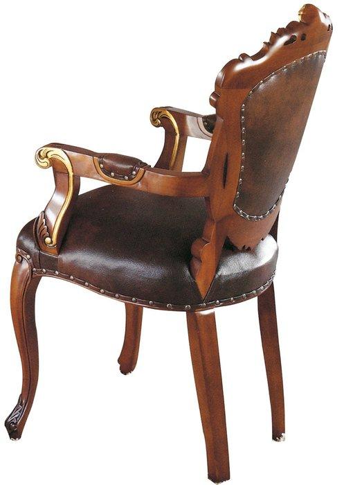 【DH】商品貨號N981-2商品名稱《伯爵》胡桃金邊扶手餐椅,備有無扶手餐椅。復古歐風潮流時尚。主要地區免運費