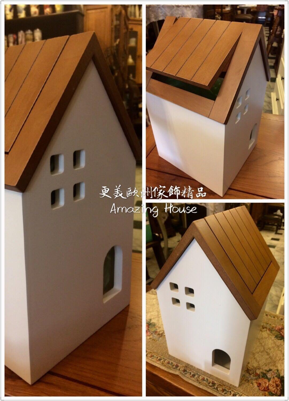 更美歐洲傢飾精品Amazing House鄉村日式小木屋垃圾桶 旋轉蓋化妝台置物桶 房屋造型