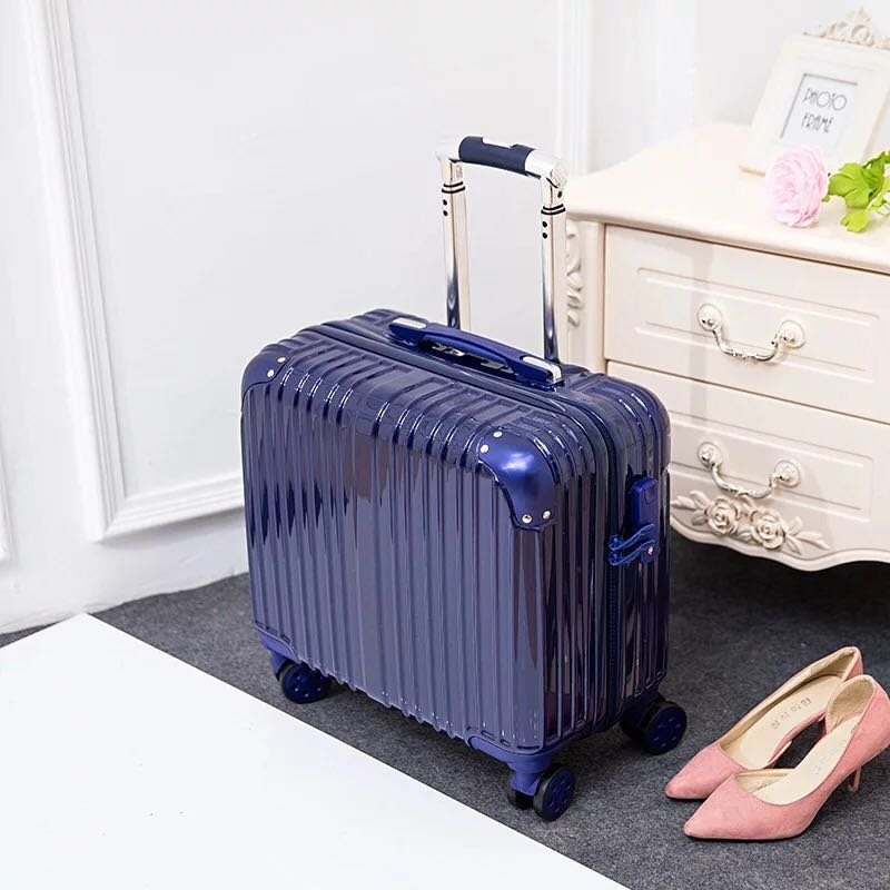 18吋復古拉桿金屬包角拉鍊款小行李箱 免運費 藍色