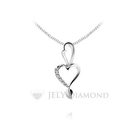 《JELY時尚館》【JELY Diamond】Heart Heart---5顆組成10分天然真鑽石項鍊 §會員享交換維修優惠§