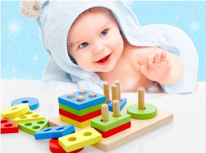 【現貨+預購】木製四套柱男寶寶女孩嬰兒童幼教益智力積木玩具