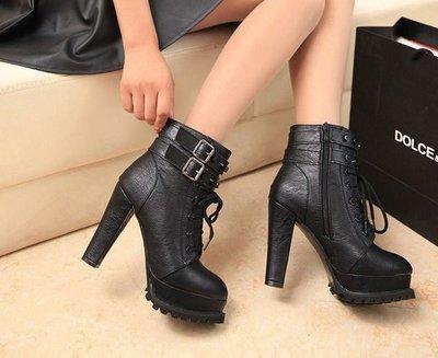 GOGO SHOP☆╭时尚迷人復古防滑綁帶高跟馬丁靴【S3030】短靴時尚機車靴 馬丁鞋側拉鏈高跟短靴