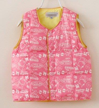 蘋果寶貝屋~兒童粉色真羽絨馬甲背心外套 保暖 防風夾克 白鵝絨 可雙面穿  120cm起標