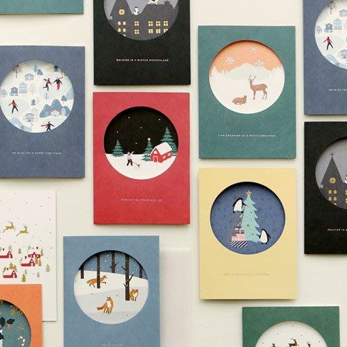Ξ ATTIC Ξ 韓國dailylike~ Christmas Card 慢生活 圓窗聖誕卡+描圖紙封套