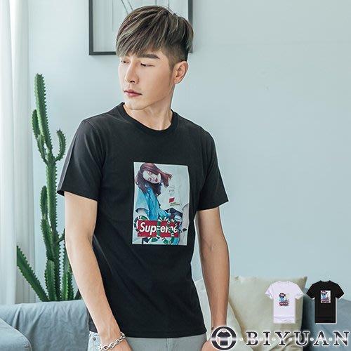韓版人像字母印花短T【F66013】OBIYUAN 圓領短袖上衣 共2色