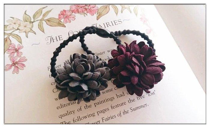玫瑰森林-- ☆°*美麗嚴選 ~田園風 雙立體絨花 髮繩/ 髮束 (可當手環配戴)
