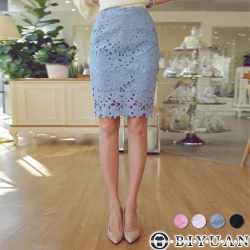 (女裝)浪漫蕾絲雕花短裙【N551】OBIYUAN 韓系高腰包臀窄版裙 共4色