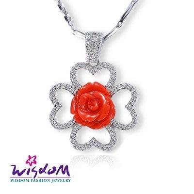 天然海洋紅珊瑚 幸運草玫瑰墜飾(不含鍊)情人節/母親節/生日 送禮/自用 威世登時尚珠寶