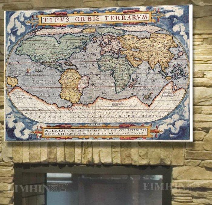 現代客廳臥室辦公室掛畫壁畫牆畫無框畫裝飾畫古世界地圖(2款可選)