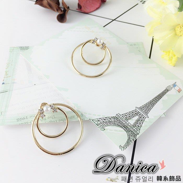 耳環  韓國氣質甜美百變簡約金屬感雙圓甜甜圈珍珠水鑽耳環 K91253-1 價 Danic