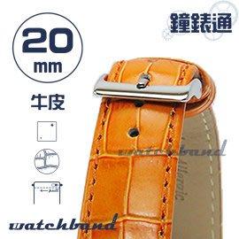 【鐘錶通】C1.25I《亮彩系列》鱷魚格紋-20mm 橙橘┝手錶錶帶/皮帶/牛皮錶帶┥