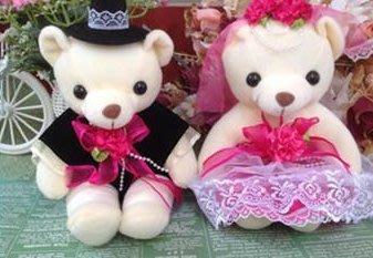 泰迪熊婚紗熊對熊壓床熊~玫紅色(訂婚結婚用品專賣)
