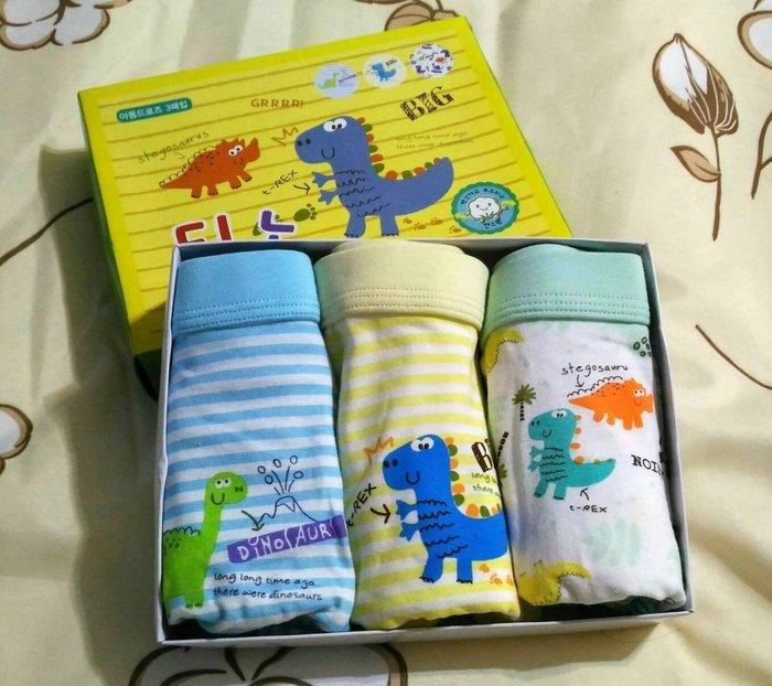《琉璃的雜貨小舖》韓國 可愛小恐龍B款 男童四角內褲三件組 現貨
