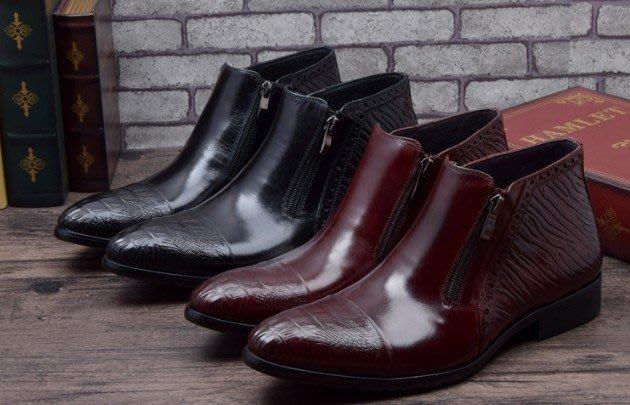 新品 英倫低筒靴 頭等牛皮靴子正裝商務短靴 尖頭拉鍊男靴