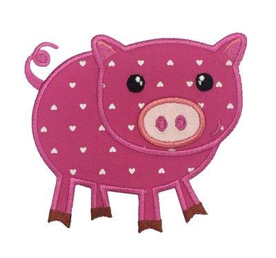 RayKae~动物刺绣臂章、可爱粉红猪烫贴布、河马刺绣烫布、DIY手工艺、壁饰贴花~粉红猪动物臂章