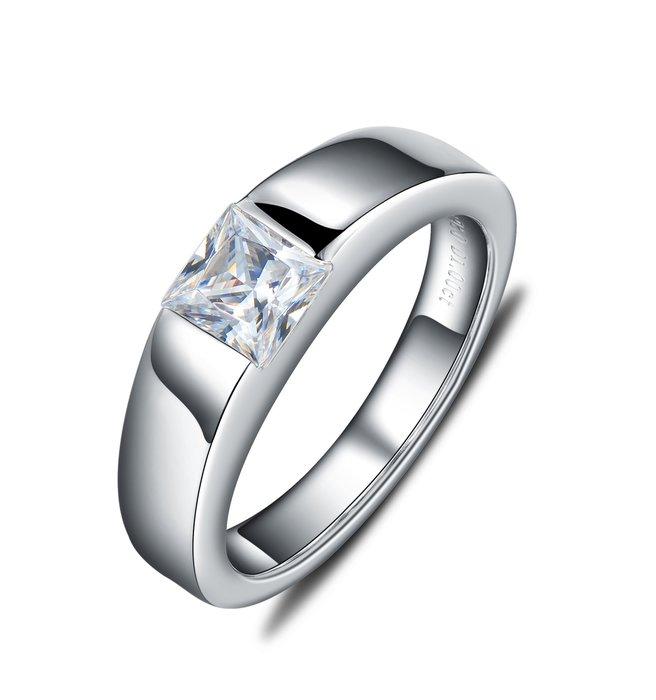 純銀包白金一克拉男男女對戒不退色 德國工藝高碳仿真鉆石鉑金質感肉眼看就似真鑽 結婚婚戒 FOREVER鑽寶