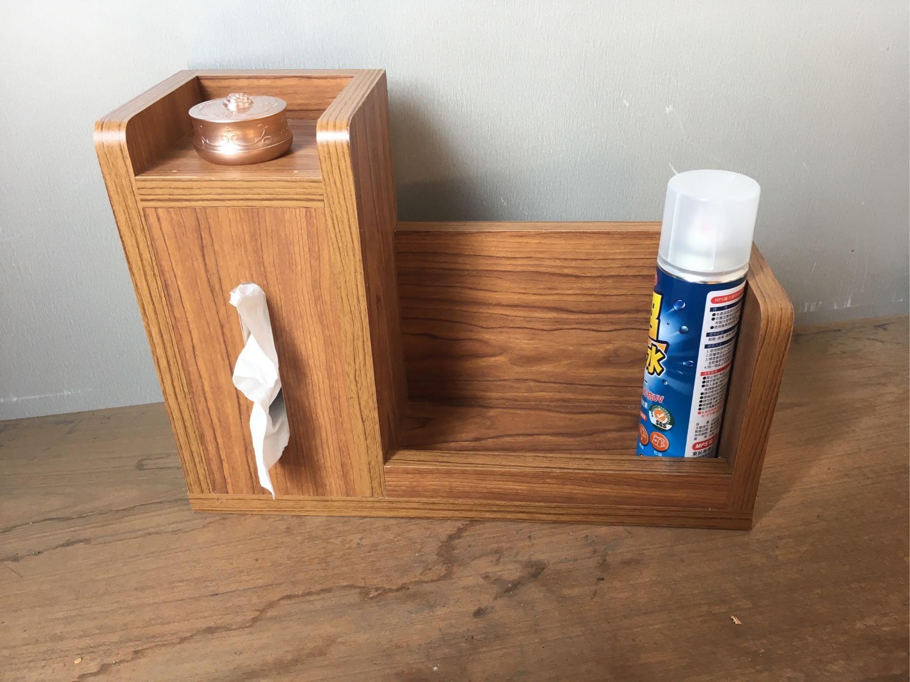 木製面紙盒➕置物架 ,柚木色下標區