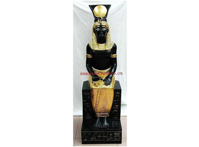 [ 居家藝術-手工彩繪-Egypt 埃及/ 尼羅河三角洲/埃及阿拉伯共和國 人像 雕像埃及豔后 126cm 造型]