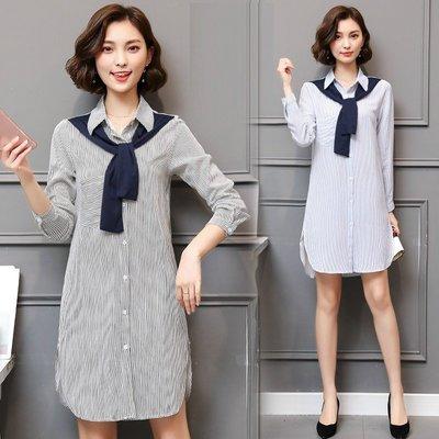 GOGO SHOP☆╭韓版新款 時尚條紋拼接洋裝 繫帶連身裙中長款襯衫【Y1595】XL~5XL大尺碼襯衫 上衣