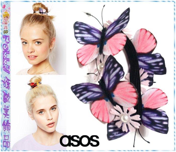 ~POLLY媽~英國ASOS Butterfly   Faux Pearl Bun Hol