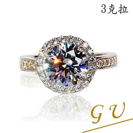 【GU鑽石】A40求婚戒指925純銀戒指白金鋯石戒指生日禮物 GresUnic  Apromiz  3克拉驚豔鑽戒客製7