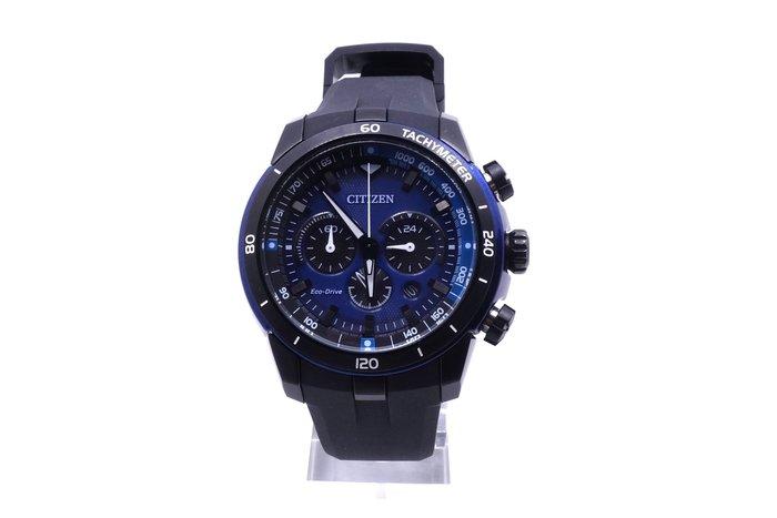 【台中青蘋果】星辰錶 Citizen Eco-Drive 部落勇士三眼計時運動腕錶 CA4155-04L #17599