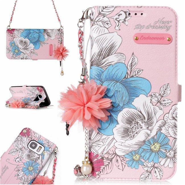 三星 Galaxy S5 S6 S7 Edge 手機皮套 粉藍玫瑰花 手腕掛繩 花朵吊墜 側翻皮套 插卡支架款 硅膠軟殼