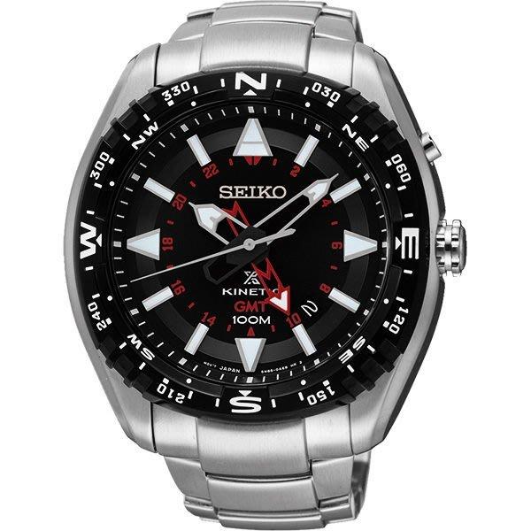 SEIKO PROSPEX系列 GMT 人動充電 鍊帶錶 (SUN049J1)黑x紅 總公司24個月保固46mm