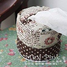 Mini Pink 宅貨舖~~棉麻布藝系列 復古懷舊色調英文印圖 田園風水玉點點 捲筒紙巾