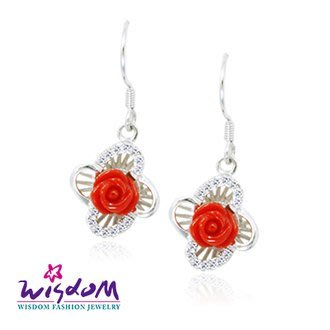 威世登 天然海洋紅珊瑚銀耳環 -情人禮、生日禮、流行款、母親節、熱銷款- CF00045-EBXX