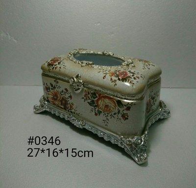 美生活館--- 全新 古典 高溫陶 長方型 銀色仿舊雕刻 白色底 金黃色玫瑰花花朵 面紙盒/收納盒