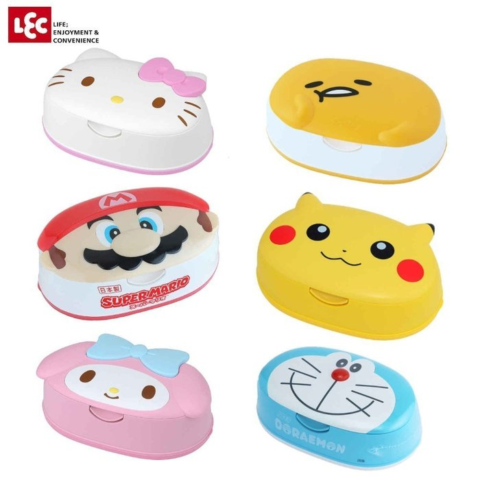 日本 瑪莉兄弟 皮卡丘 哆啦A夢 kitty 美樂蒂 蛋黃哥 頭型 濕紙巾盒 附贈純水濕紙巾80入