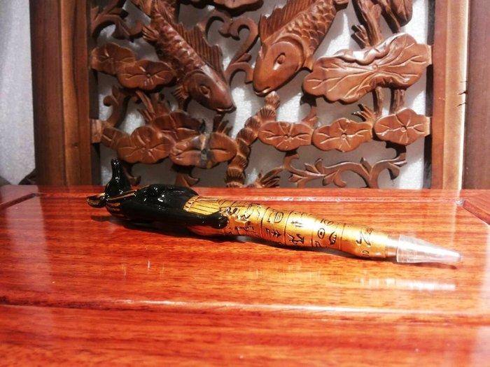 [ 居家藝術-設計家作品 手工彩繪-阿努比斯 神 ]-高 17 cm-Egypt埃及古文明.筆 收藏筆  雕刻筆