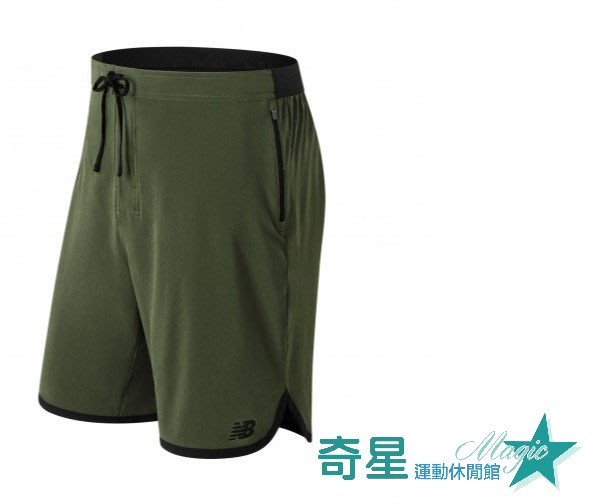 奇星 NEW BALANCE NB 男 海灘褲 盧廣仲 短褲 軍綠 運動 AMS81099DCG