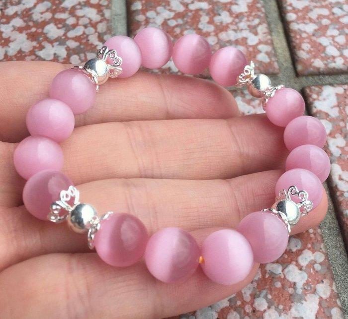 珍奇翡翠珠寶首飾-超高品質的粉紅貓眼石,直徑約10mm  搭配925銀飾品,這批貨真的很優,要買要快,數量有限喔