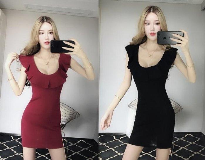 現貨供應[881167]小資平價禮服坊-性感荷葉邊一字領包臀顯瘦洋裝-神秘黑/薔薇紅