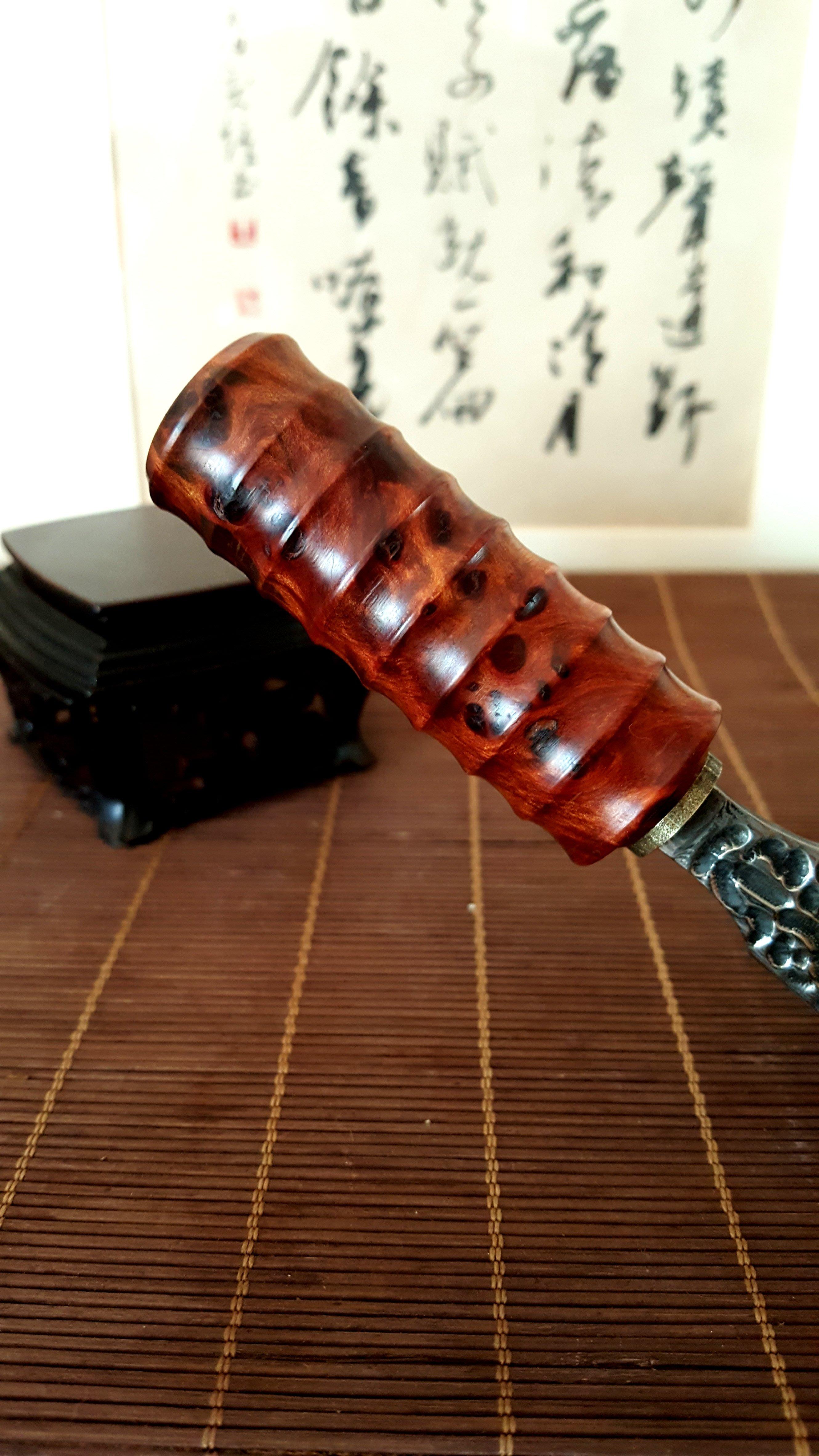 手作肖楠瘤茶刀(大馬士革鋼蝕刻紋)