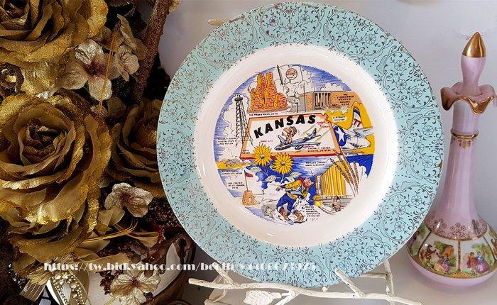 妍媽咪ㄉ西洋古董~ 美國 堪薩斯州 紀念瓷盤~ Vintage 復古 珠寶
