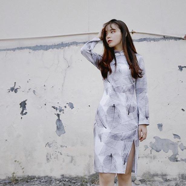 【鳳眼夫人】原創設計訂製款 素雅葉脈 復古中國風長袖改良日常旗袍短裙 旗袍連身裙 改良式旗袍 氣質洋裝攝影服裝開衩洋裝