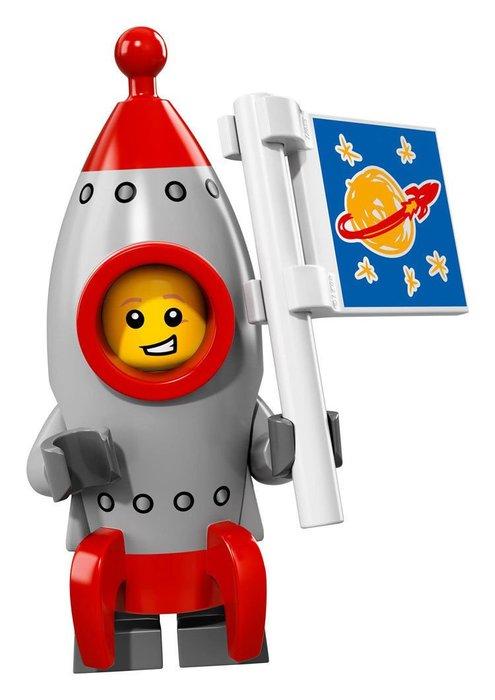 【LEGO 樂高】2017最新 積木/ Minifigures人偶包系列:17代 71018 | #13 火箭男孩+旗子