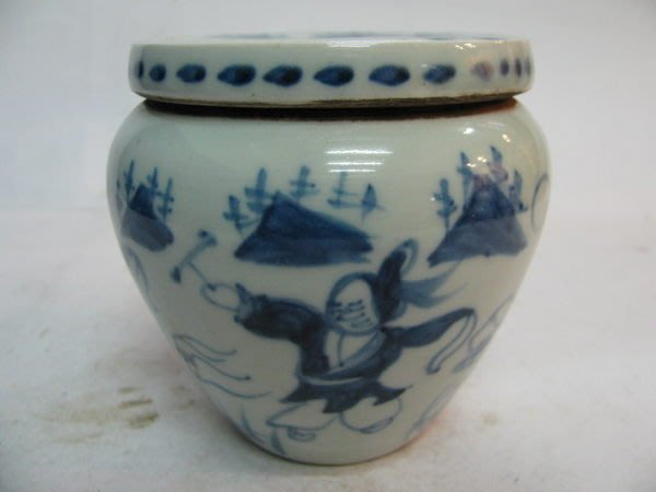 ~順治爺~R604號《早期收藏瓷器》~青花人物蓋罐~@499元起標